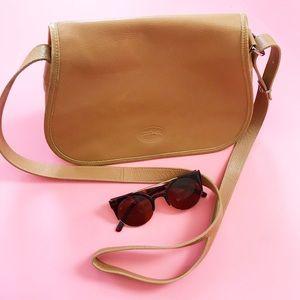 Longchamp Leather Tan Flap Crossbody Saddle Bag